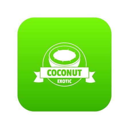 Coconut icon green vector