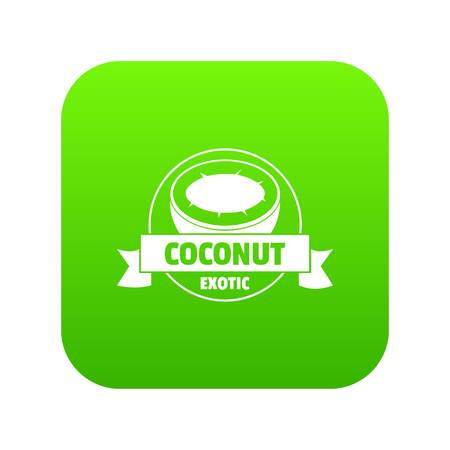 Coconut icon green vector