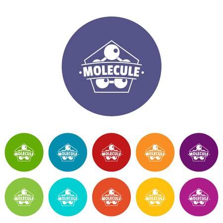 Molecule connection icons set vector color