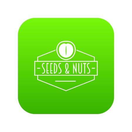 Nut and seed emblem icon green vector