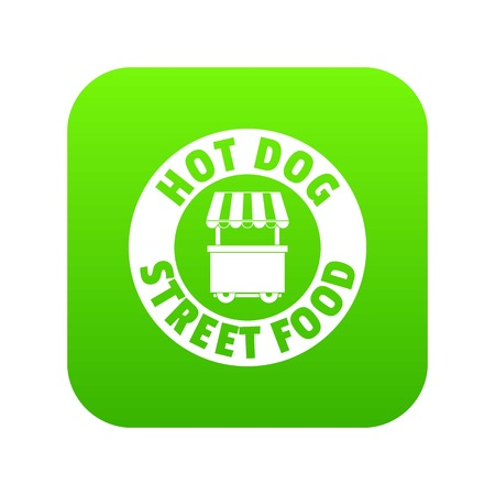 Hot dog stand icon green vector