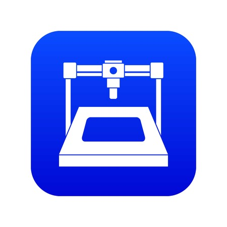 3D printer icon digital blue for any design isolated on white vector illustration Illustration