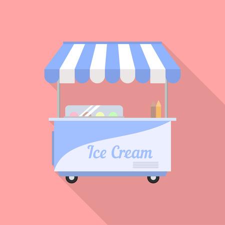 Street ice cream icon. Flat illustration of street ice cream icon for web design