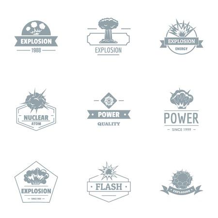 Explosion logo set. Simple set of 9 explosion logo for web isolated on white background Stock Photo