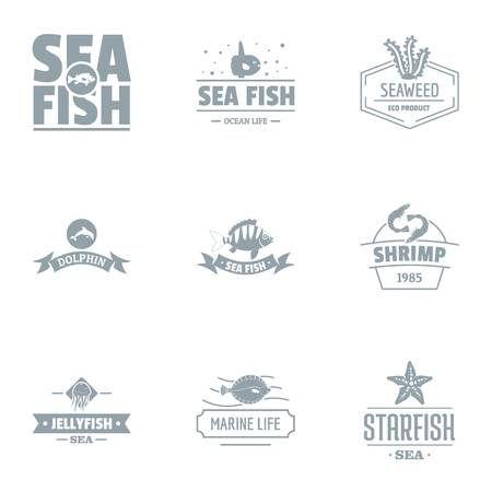 Catch fish logo set. Simple set of 9 catch fish logo for web isolated on white background Archivio Fotografico - 113268165