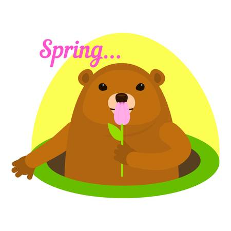 Groundhog at spring icon. Flat illustration of groundhog at spring icon for web design