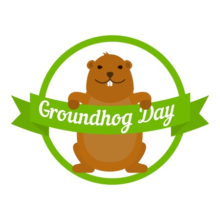 Groundhog day icon. Flat illustration of groundhog day icon for web design