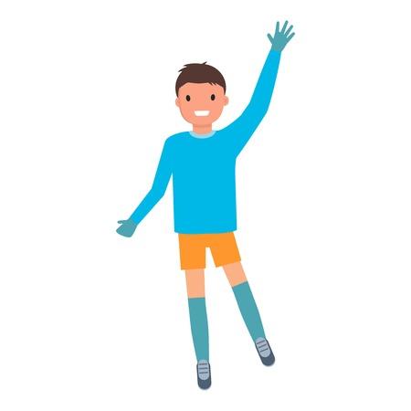 Goalkeeper want ball icon. Flat illustration of goalkeeper want ball icon for web design