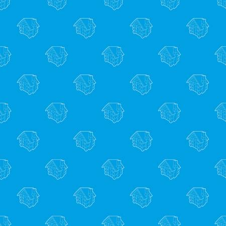 Small hut pattern seamless blue repeat for any use