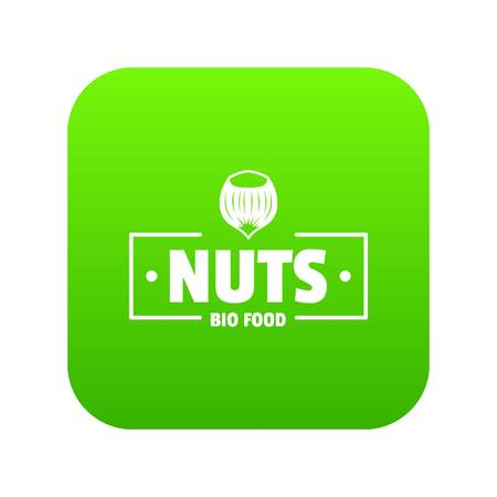 Nut food icon green vector isolated on white background