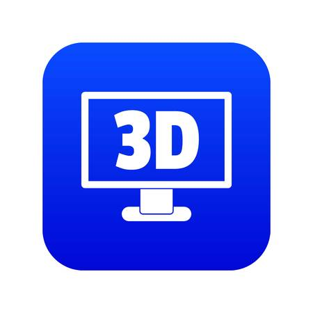 Computer monitor with 3d inscription icon digital blue for any design isolated on white vector illustration