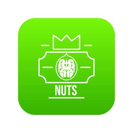 Walnut icon green vector isolated on white background