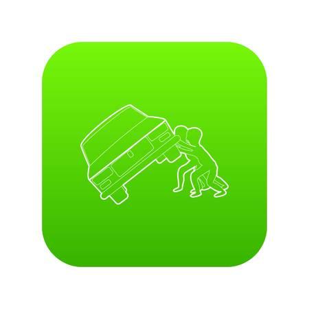La gente volcó el vector icono verde del coche aislado sobre fondo blanco. Ilustración de vector