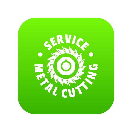 Metal cutting service icon green vector isolated on white background