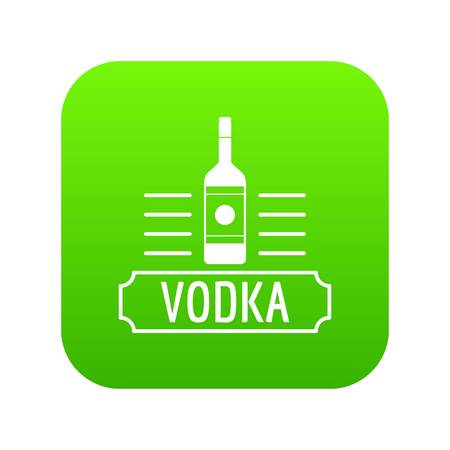 Vodka icon green vector isolated on white background