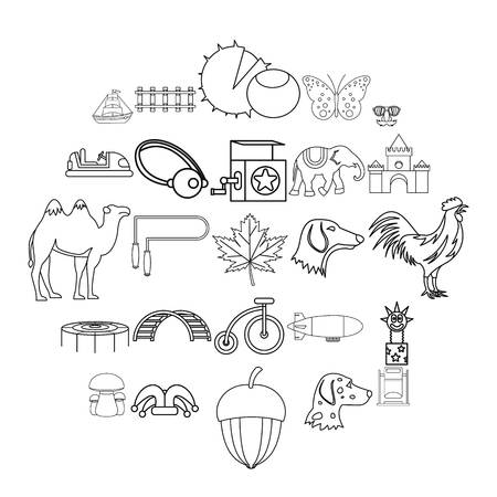 Rural activity icons set. Outline set of 25 rural activity vector icons for web isolated on white background