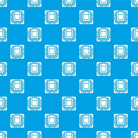 Modern microchip pattern vector seamless blue repeat for any use Vettoriali