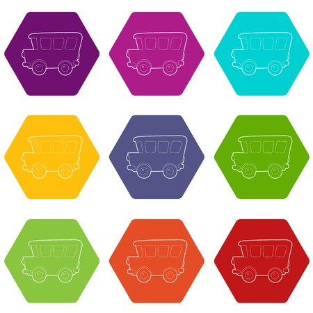 School bus icons 9 set coloful isolated on white for web