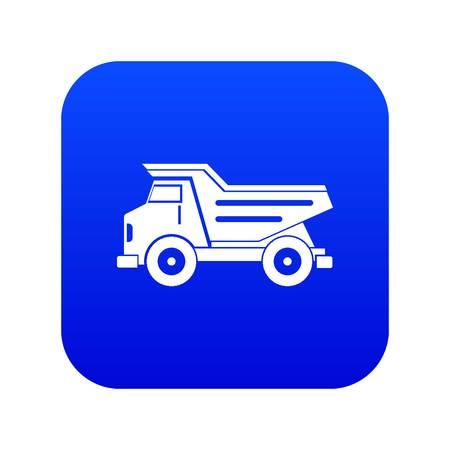Dump truck icon digital blue for any design isolated on white vector illustration