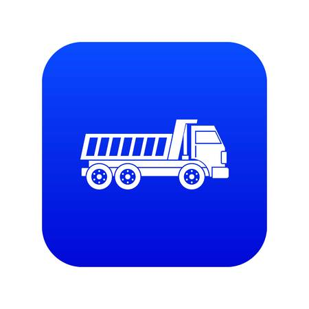 Dumper truck icon digital blue for any design isolated on white vector illustration