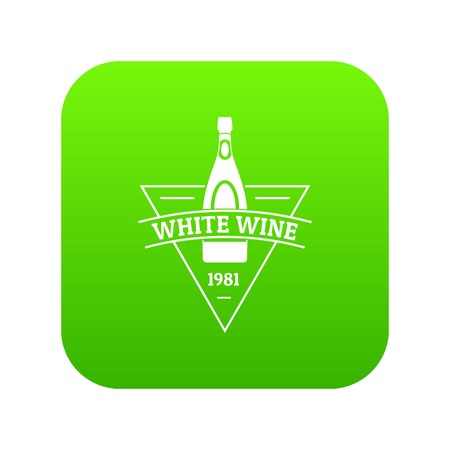 White wine icon green vector isolated on white background Illustration