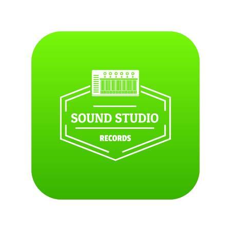 Sound studio icon green vector