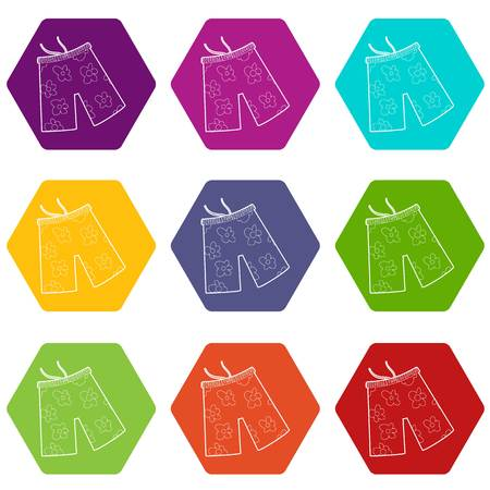 Shorts for swimming icons 9 set coloful isolated on white for web