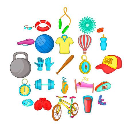 Sport life icons set. Cartoon set of 25 sport life vector icons for web isolated on white background