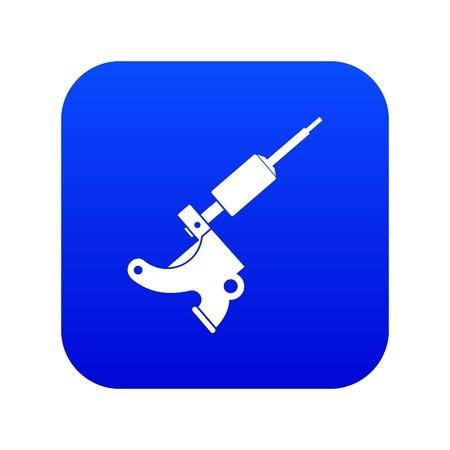 Coil tattoo machine icon digital blue 向量圖像
