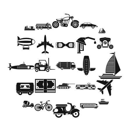 Ride icons set. Simple set of 25 ride vector icons for web isolated on white background