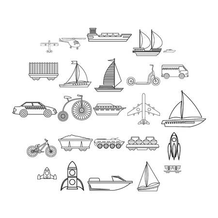 Deprecated transport icons set. Outline set of 25 deprecated transport vector icons for web isolated on white background