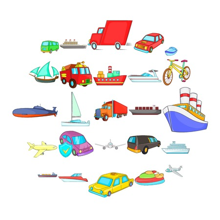 City transport icons set. Cartoon set of 25 city transport vector icons for web isolated on white background Çizim