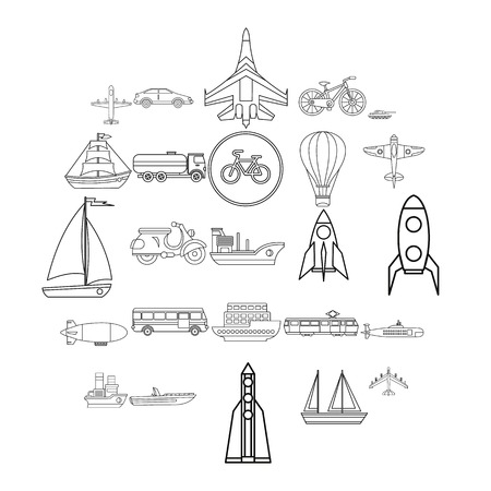 Air transport icons set. Outline set of 25 air transport vector icons for web isolated on white background