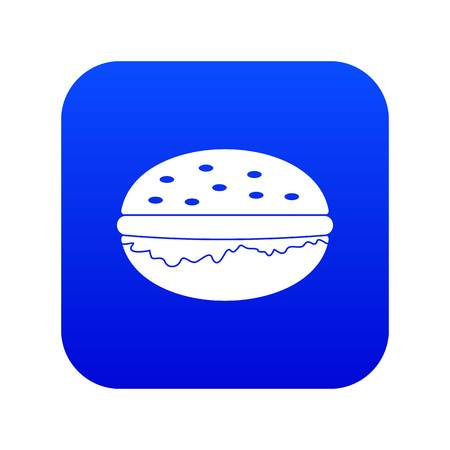 Burger icon digital blue for any design isolated on white vector illustration