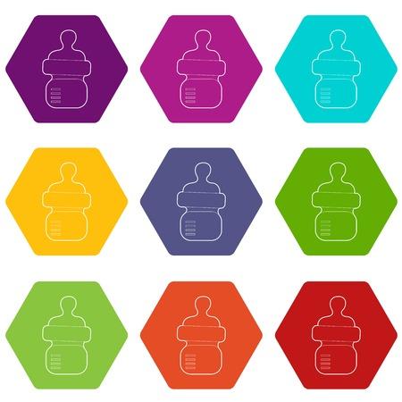 Baby bottle with milk icons 9 set coloful isolated on white for web Ilustracja