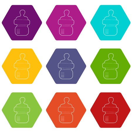 Baby bottle with milk icons 9 set coloful isolated on white for web Illustration