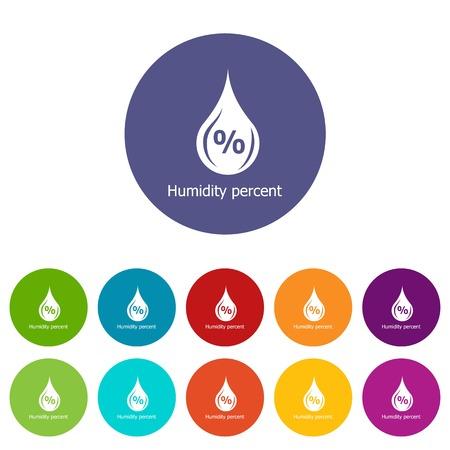 Humidity percent icons set vector color