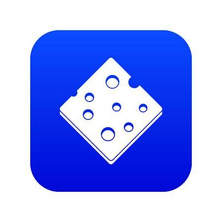 Cheese fresh block icon digital blue
