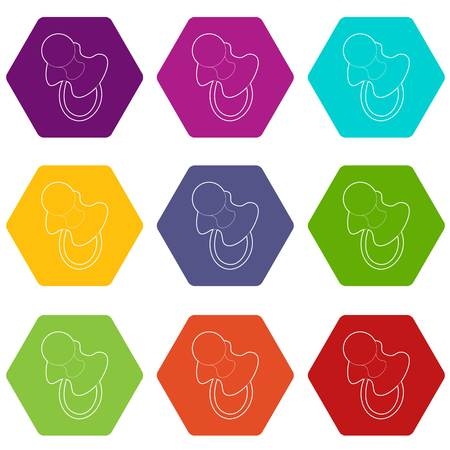 Baby pacifier icons 9 set coloful isolated on white for web