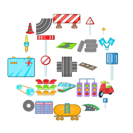 Road surface icons set. Cartoon set of 25 road surface vector icons for web isolated on white background 向量圖像