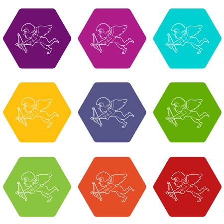 Cupid icons 9 set coloful isolated on white for web