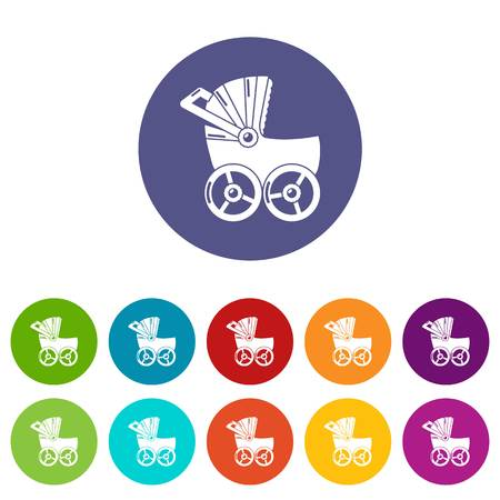 Baby carriage big icons color set vector for any web design on white background Illustration
