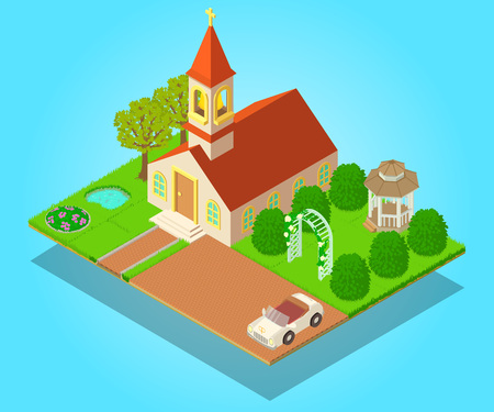 Church ritual concept banner. Isometric banner of church ritual vector concept for web, giftcard and postcard Illustration