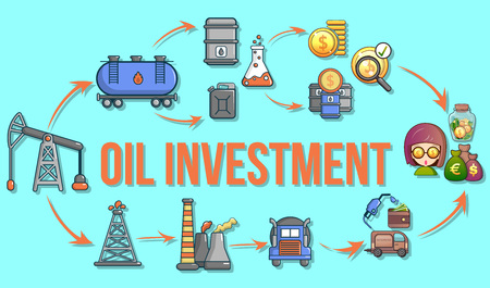 Oil investment concept banner. Cartoon banner of oil investment vector concept for web, giftcard and postcard Vettoriali