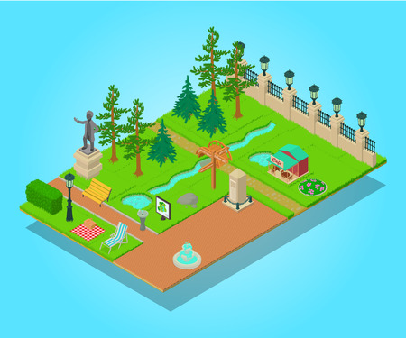 Parkland concept banner. Isometric banner of parkland vector concept for web, giftcard and postcard Ilustrace