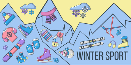 Winter sport concept banner. Cartoon banner of winter sport vector concept for web, giftcard and postcard Ilustração