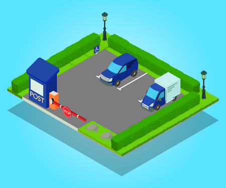 Parking concept banner. Isometric banner of parking vector concept for web, giftcard and postcard