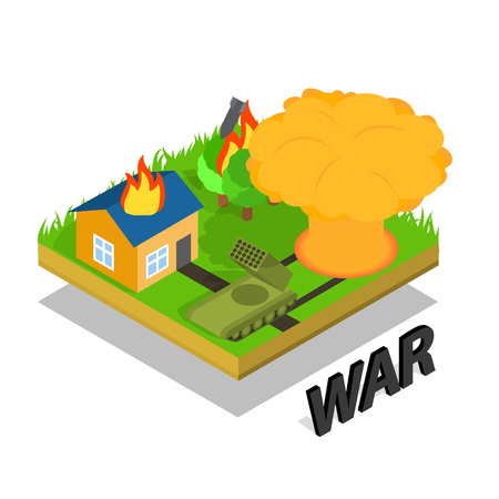 War concept banner. Isometric banner of war vector concept for web, giftcard and postcard Vettoriali