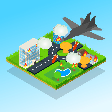 Bombardment concept banner. Isometric banner of bombardment vector concept for web, giftcard and postcard