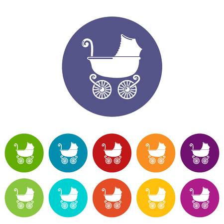 Baby carriage vintage icons color set vector for any web design on white background